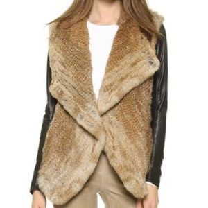 Fur Jacket with Leather Sleeves by June